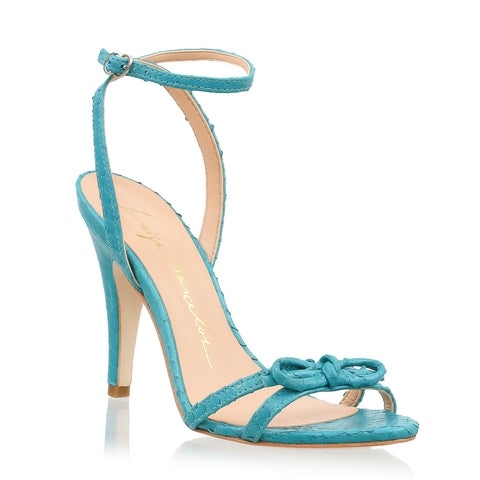 Knotted Leather Ankle-Strap Sandals, turquoise
