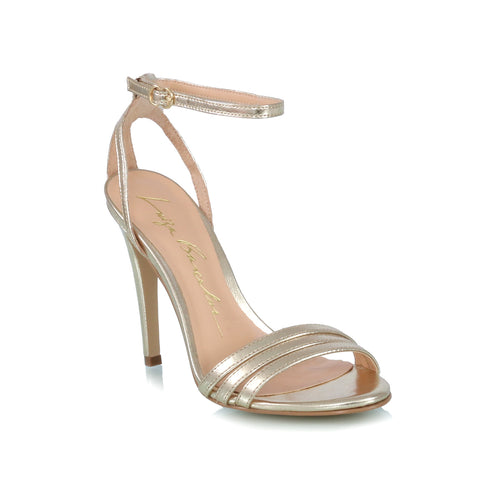 Ankle-strap sandals, gold