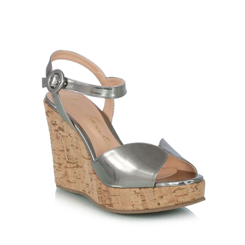 Metallic & Cork Wedge Sandals, gray