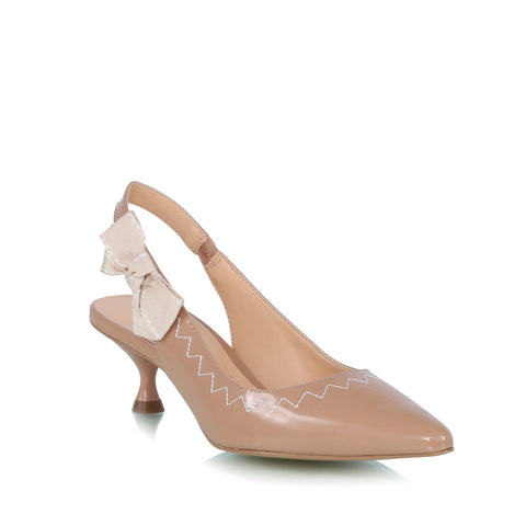 Bow embellished pumps, nude