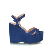 Satin plataform wedge, blue