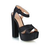Satin Plataform Sandals, black