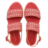 Embroidered Sued Flat Sandals, pink