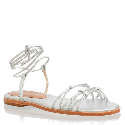 Lace-up flat sandals, silver