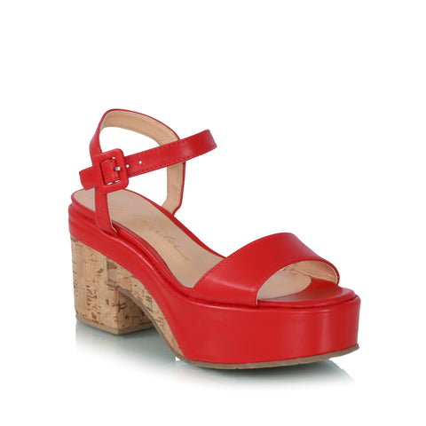 Cork Wedge Sandals, red