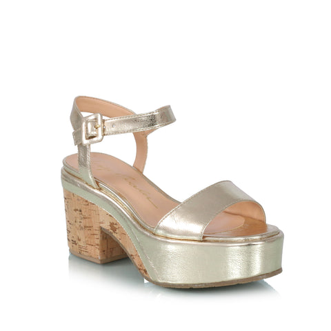 Metallic & Cork Wedge Sandals