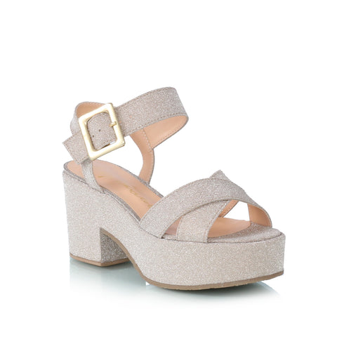 Glitter Wedge Sandals, gold