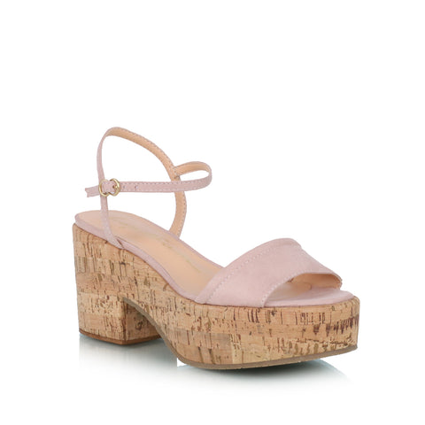 Cork Wedge Sandals, nude