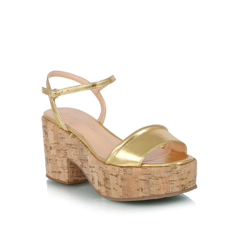 Cork Wedge Sandals, gold