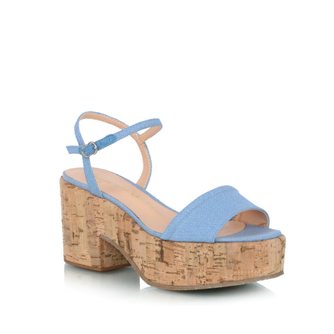 Cork Wedge Sandals, denim