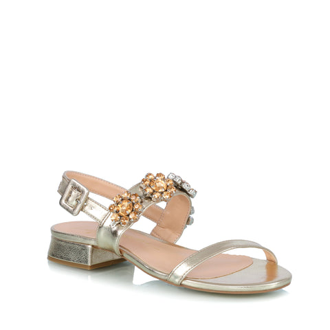 Flower embellished falt sandals, gold