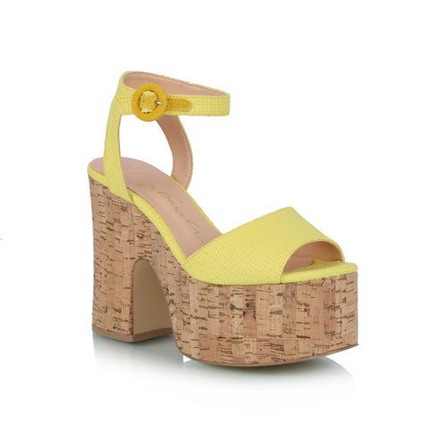 Cork Wedge Sandals, yellos