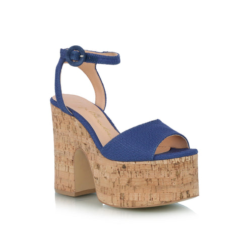 Cork Wedge Sandals, blue