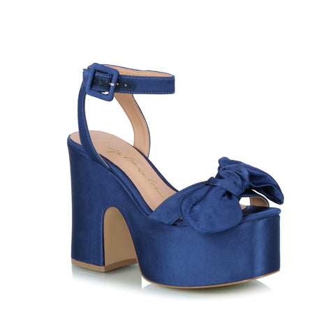Bow Wedge Sandals, blue