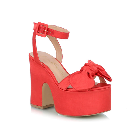 Bow Wedge Sandals, red