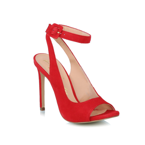 Ankle-strap sued sandals, red