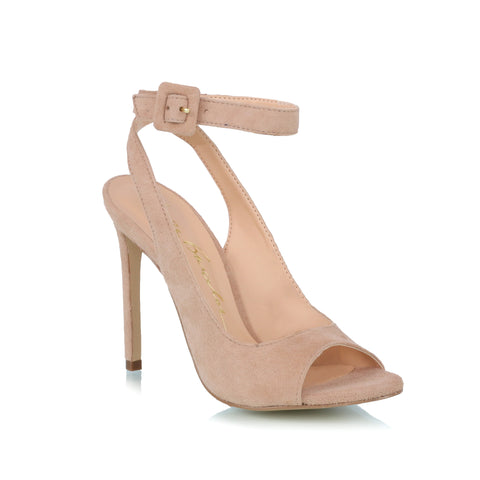 Ankle-strap sued sandals, nude