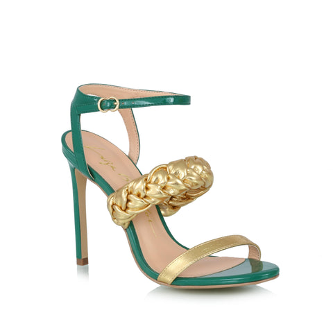 Ankle-wrap sandals, green & gold