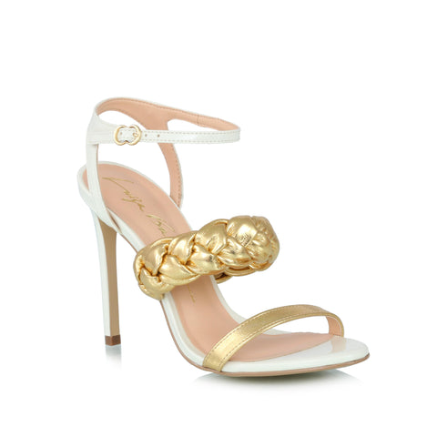 Ankle-wrap sandals, white & gold
