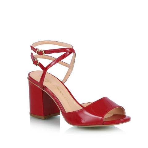 Ankle-strap block heel sandals, red