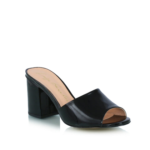 Peep toe mules, black