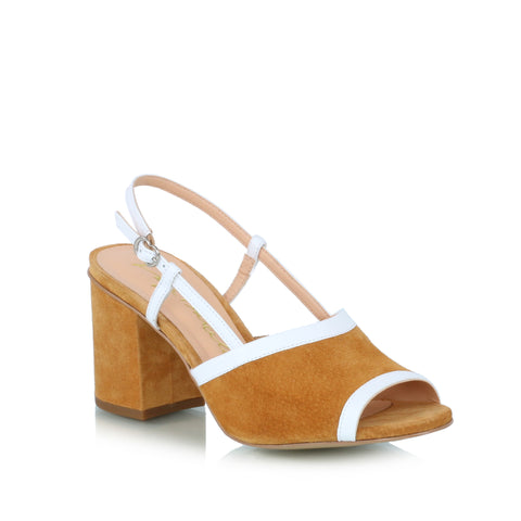 Block heel sandals, brown & white