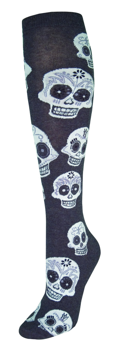 Big Muertos Skull (sugar skull)Women Knee High Sock