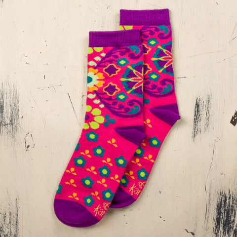 FUCHSIA FLORAL Woman's Socks