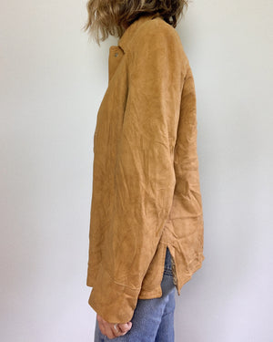 CAMEL SUEDE SNAP BUTTON JACKET / MEDIUM