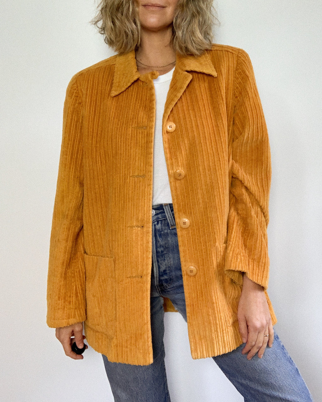MUSTARD CORDUROY JACKET / MENS SMALL