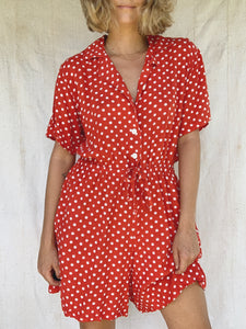 DOTTY RED ROMPER / LARGE