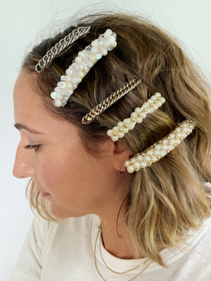 GOLD AND PEARL FRENCH BARRETTE