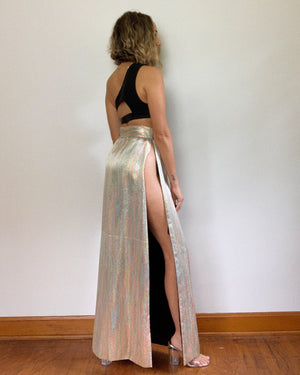 HIGHEST DOUBLE SLIT LAMÉ SKIRT / 27'