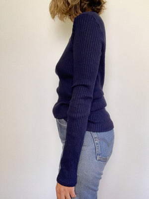 NAVY RIBBED KNIT / MEDIUM