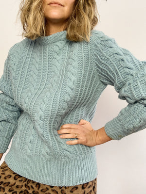 1980s ANGEL BLUE SWEATER / SMALL