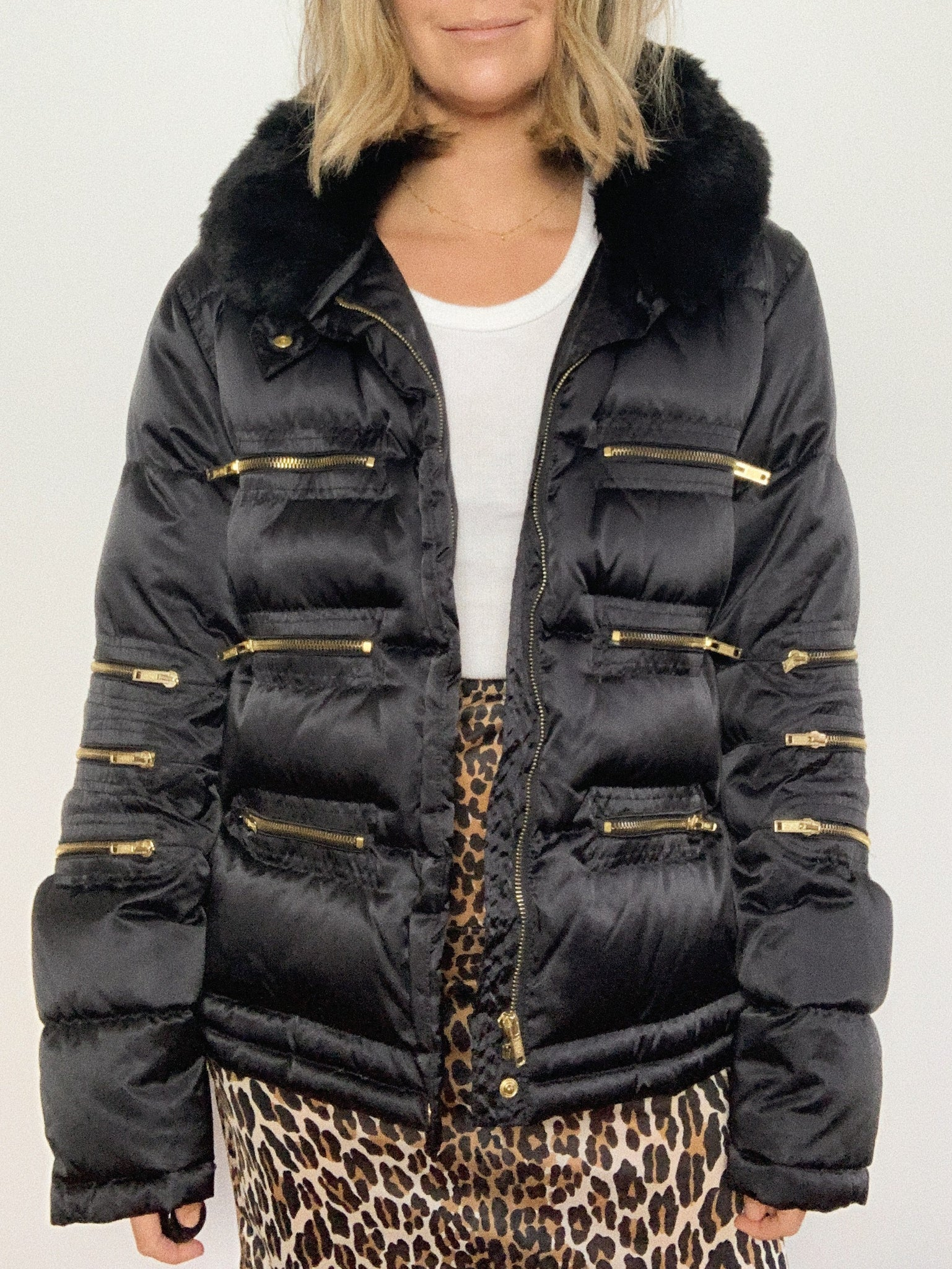 RABBIT COLLAR DOWN PUFFER JACKET / LARGE