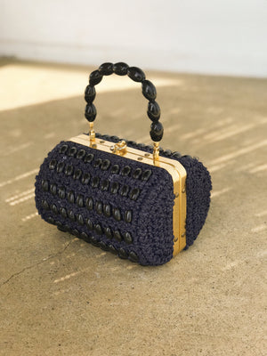 NAVY BEAD BAG