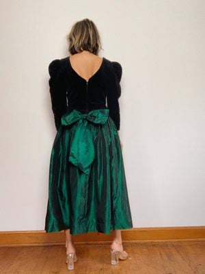 VELVET & TAFFETA BOW DRESS / MEDIUM