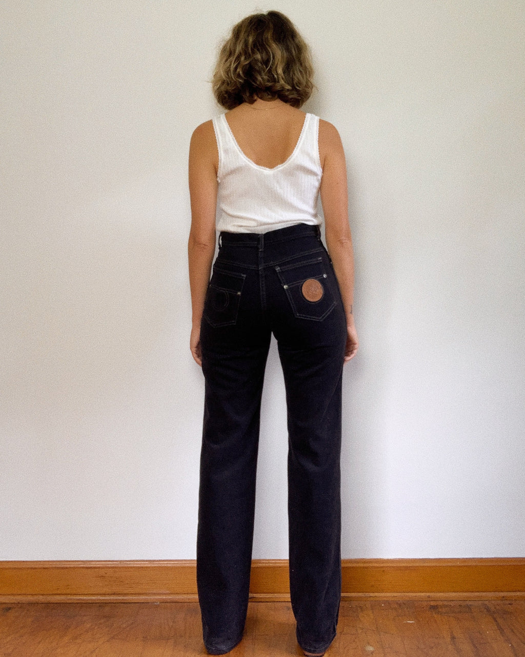70S BLACK PLUSH BOOT CUT PANT / 28""