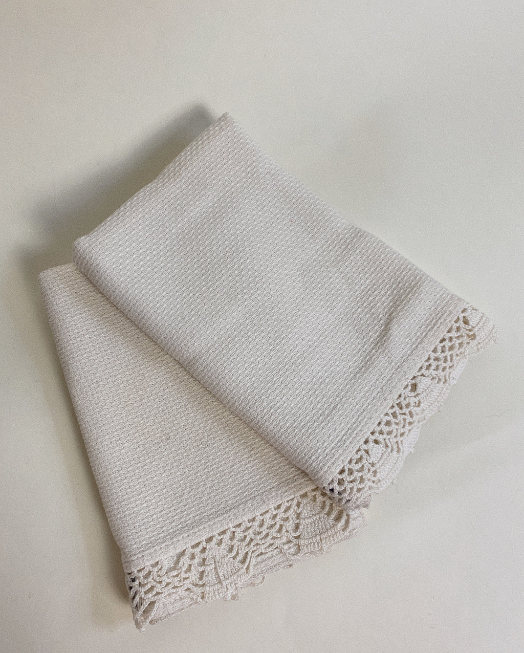 TWO CROCHET LINEN TOWELS