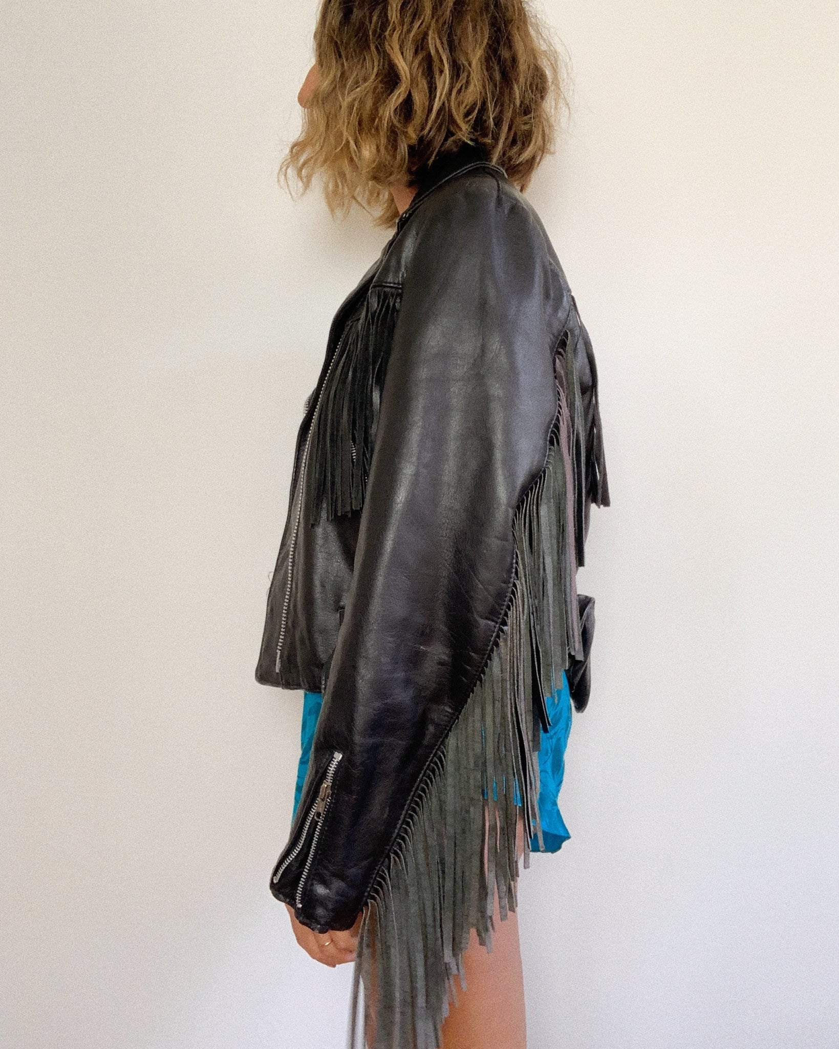 FRINGE MOTO LEATHER JACKET / MEDIUM