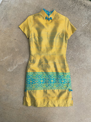 GREEN RAW SILK DRESS / MEDIUM