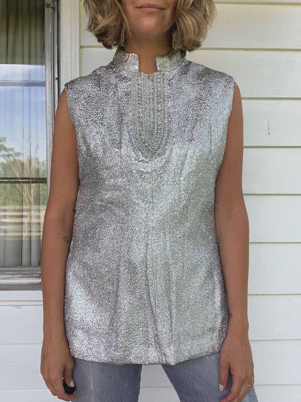 METALLIC BLOUSE / MEDIUM