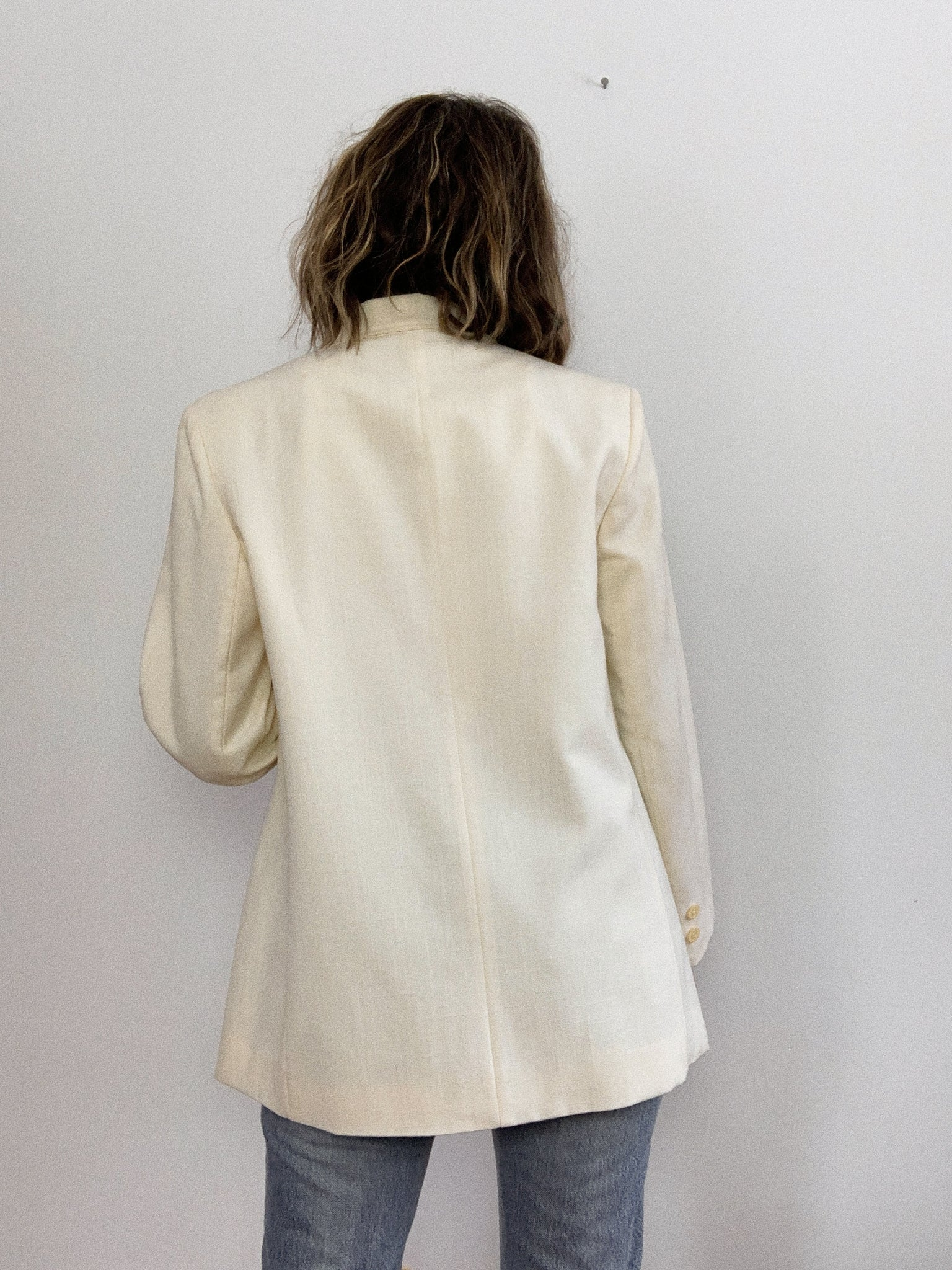 LINEN ONE BUTTON 70s BLAZER / MEDIUM