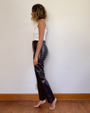 BROWN LEATHER PANT / 28""