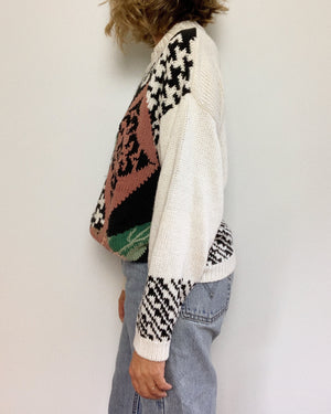 HOUNDSTOOTH FLORAL SWEATER / LARGE