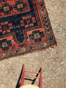 NAVY ORIENTAL RUG, ANTIQUE TURKISH