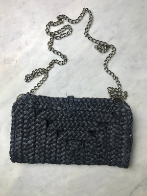 70S STRAW BRAID CROSSBODY BAG
