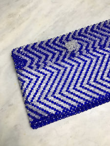BLUE BEADED CLUTCH
