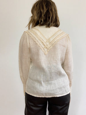 LINEN AND LACE BLOUSE / SMALL